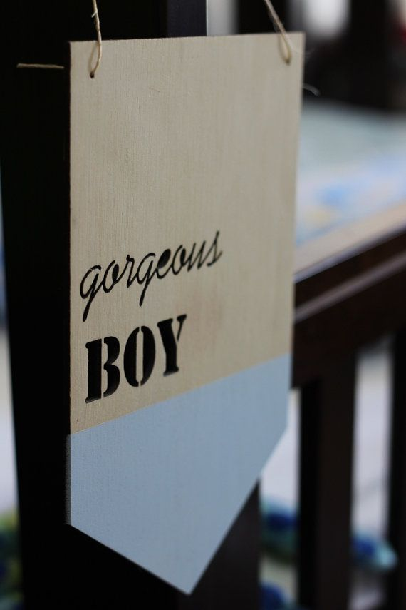 The painted GORGEOUS BOY timber plaque from Katrina Louise Designs is perfect to decorate a baby boys room or nursery. Available in many other colours.