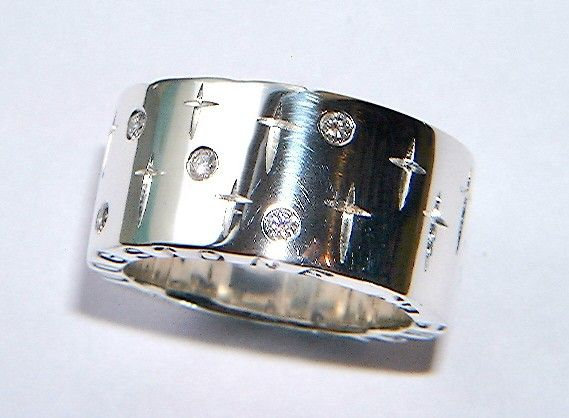 Diamond Silver Ring Handmade Chunky Silver rings by DOGSTONE, £189.00