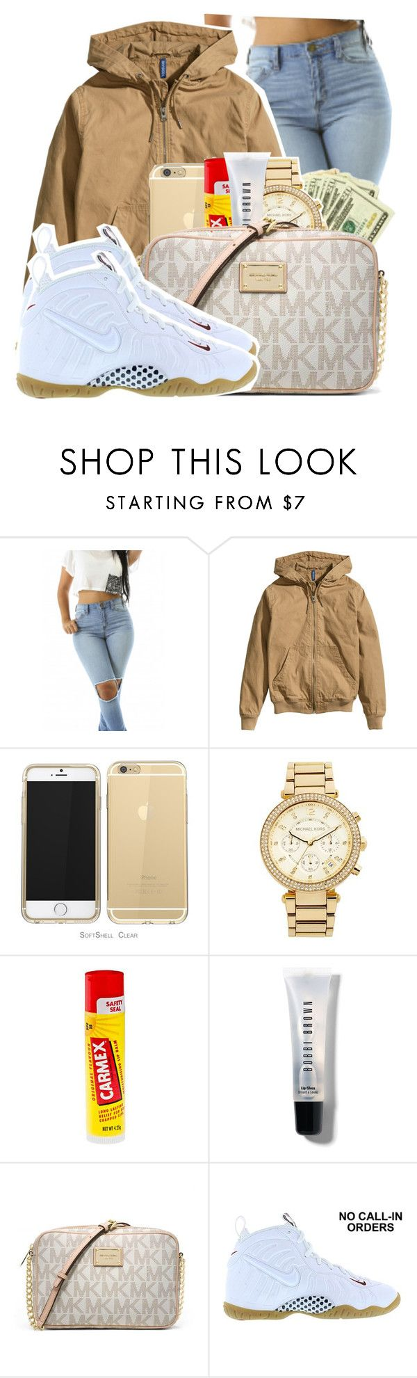 """""""Untitled #111"""" by amourr-dessi ❤ liked on Polyvore featuring H&M, MICHAEL Michael Kors, Carmex, Bobbi Brown Cosmetics, Michael Kors and NIKE"""