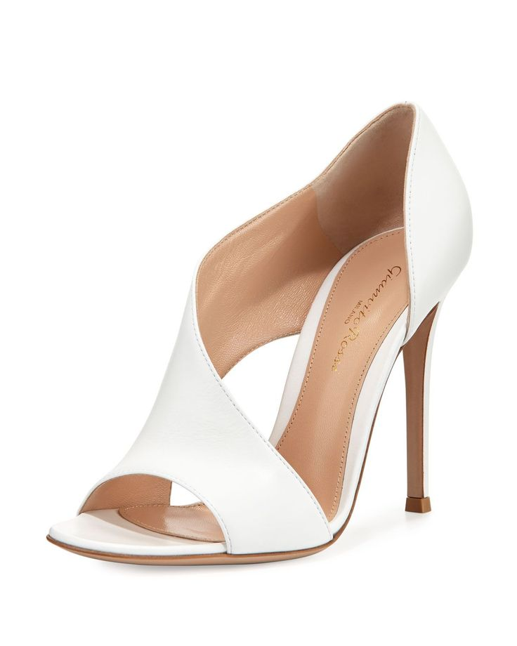 """Gianvito Rossi smooth leather pump. 4.3"""" covered heel. Open toe. Asymmetric vamp. Open sides. d'Orsay silhouette. Smooth outsole. Made in Italy."""