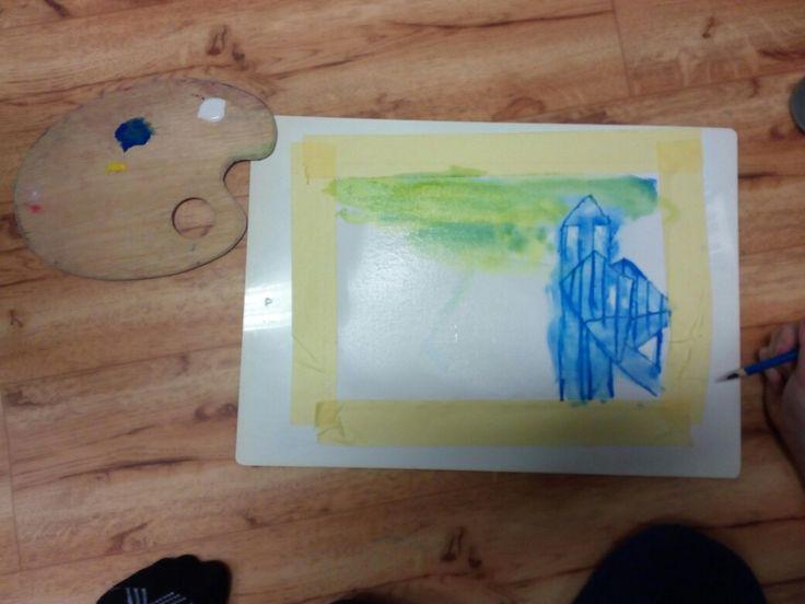 Ledové království - akvarel - Tvořivé hrátky 18. 1. 2017