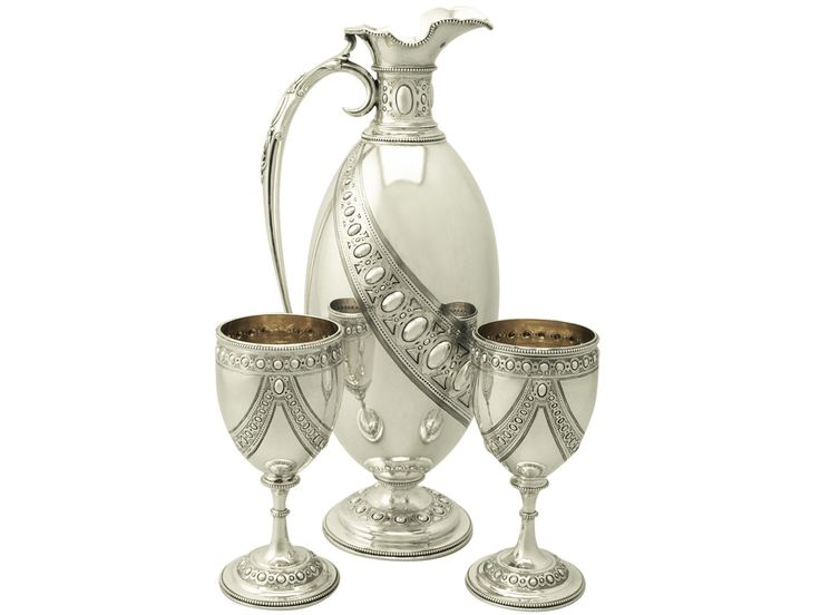 English Victorian period sterling silver claret jug and goblets by Barnard & Sons  - London, c1873 (acsilver925)