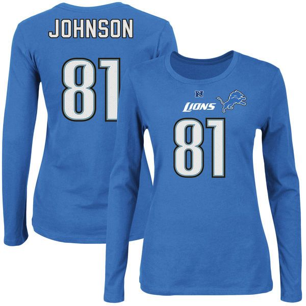 Calvin Johnson Detroit Lions Majestic Womens Fair Catch V Name and Number Long Sleeve T-Shirt - Blue - $34.99