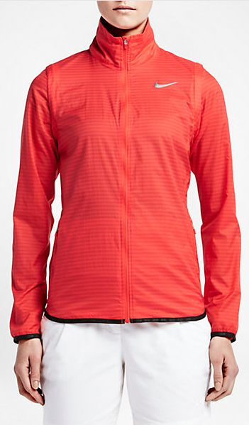 The Nike Majors Convertible Women's Golf Jacket is made with lightweight fabric that blocks out the cold weather, and features sleeves that zip off for two-in-one versatility. $130.00 Color - Light Crimson