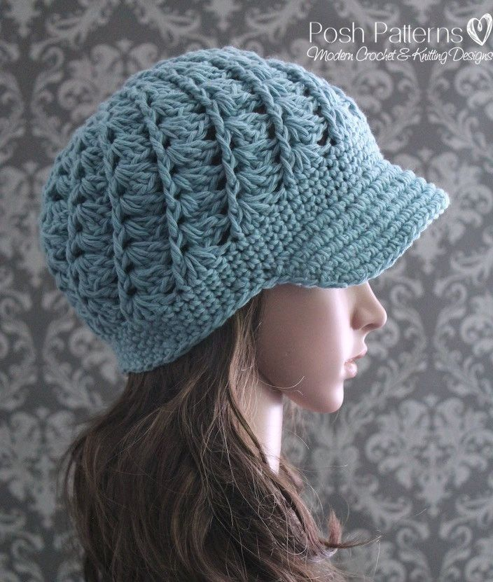 Crochet PATTERN - Spiral Shell Crochet Newsboy Hat Pattern