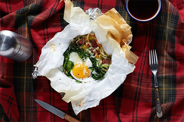 Breakfast Hobo Packs with Hash Brown Potatoes, Sausage, and Scallions for Campfire Cooking While Camping