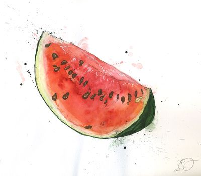 Watermelon by Emma Dibben I like the use of watercolours and how the different shades of red, pink and orange are blended together to make a realistic fruit. I also like the slightly messy edges to the painting, it adds character and originality to the watermelon.
