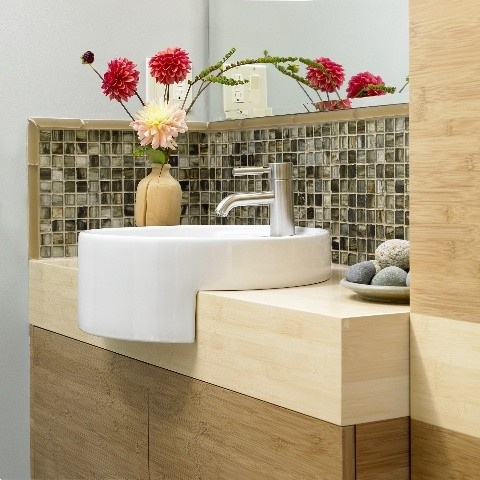 not a fan of the sink but I love the tile and wood