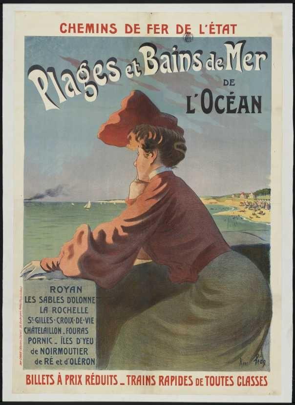 Plages et bains de mer de l'océan - Royan, Les Sables d'Olonne, La Rochelle... illustration de René Péan - France -