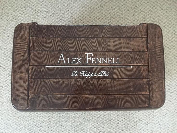 pi kappa phi fraternity wood grain name cooler