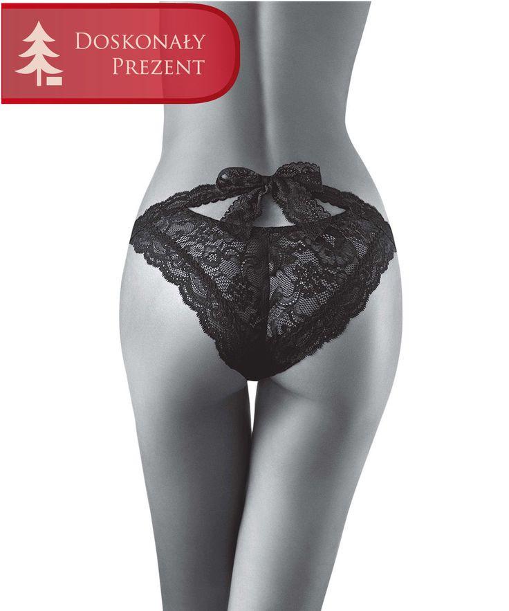Aubade Boite a Desir P027 Daring Bikini Black. Majtki typu figi z wyjątkowej linii Boite à Désir w kolorze czarnym. Uszyte z miękkiej koronki. Z fantazyjnym wiązaniem z tyłu. W cenie 199,99 zł.