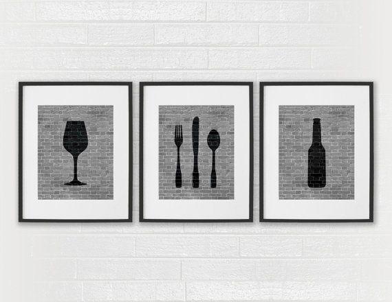 Modern Dining Room Art Prints - Black & White Beer, Wine, Fork, Knife, Spoon - Set of 3 8x10 Dining Room / Kitchen Wall Decor Digital Prints