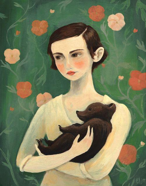 Emily Winfield Martin + girl + baby bear + illustration + menina + urso bebé + ilustração