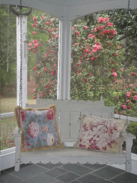 love that swing & the pillows ~ from Cottage Chic Photo Gallery