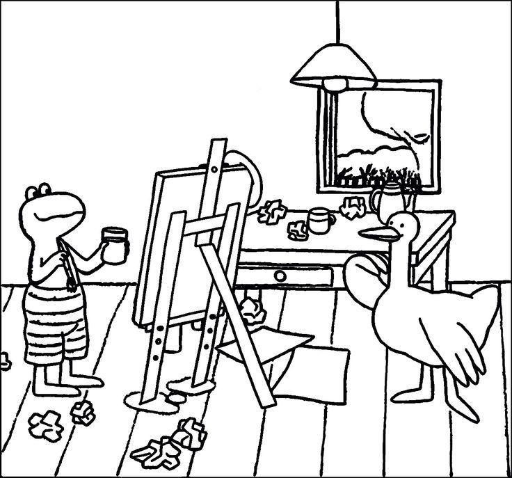 Kleurplaat: Kikker schildert