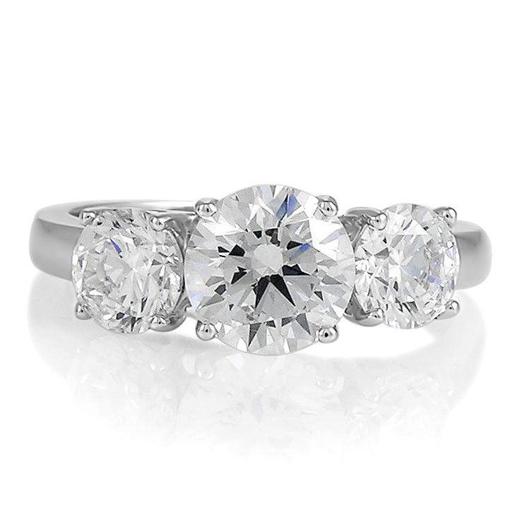 Sterling Silver 3-Stone Round Cubic Zirconia CZ Ring