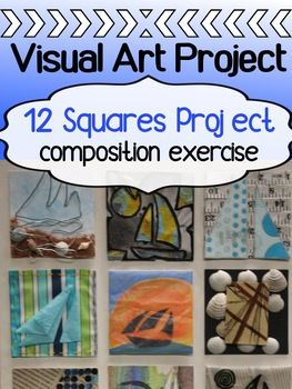 """This is a fantastic intro project for senior students to review composition, as well as the elements and principles of art and design. It really pushes their creativity to the limit right off the bat - and gets them experimenting and exploring. It's called """"12 Squares"""" project because students are literally designing 12 mini artworks, all around one chosen theme."""