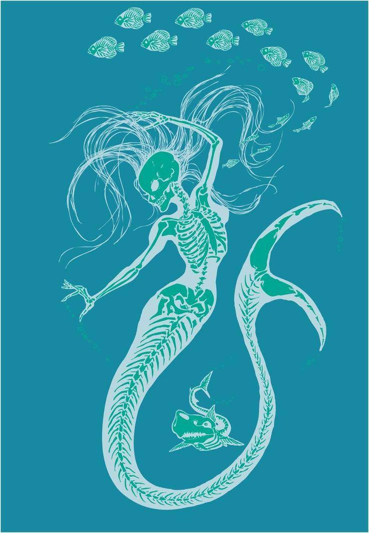 Women's Organic Mermaid Skeleton T-Shirt. $30.00, via Etsy.
