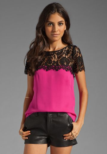 MILLY Solid Silk Georgette Top in Fuchsia