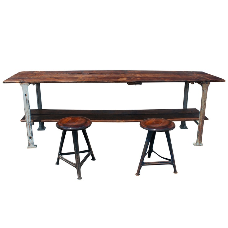 This some sexy work space!  Industrial French Work Table