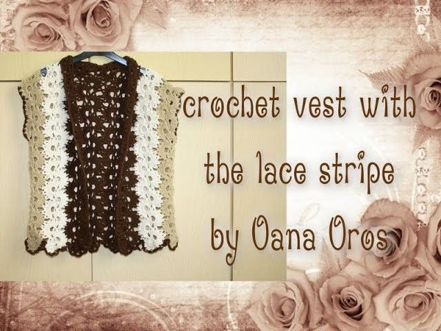 Crochet jumper with the stripe lace