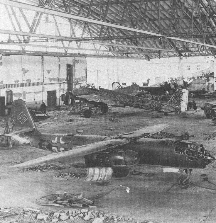 Arado AR-234 Blitz Captured jet bomber reconnaissance Arado Ar 234 Blitz & a pair of aircraft Junkers Ju 88's near Manching Germany April 1945.