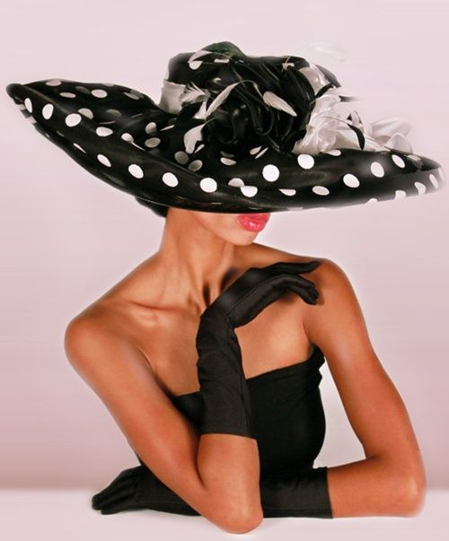 YFF Black Polka with White Polka Dots Dress Kentucky Derby Hat - $207