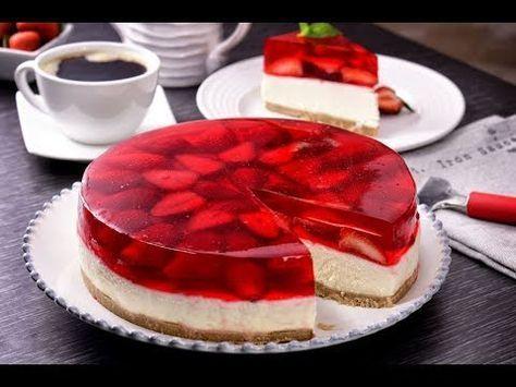 Pastel de Gelatina y Fresa con Cheesecake SIN HORNO - YouTube