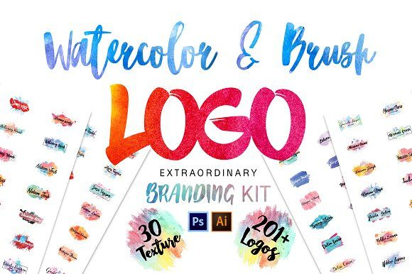 Watercolor & Brush Premade Logos by AN Productions on @creativemarket