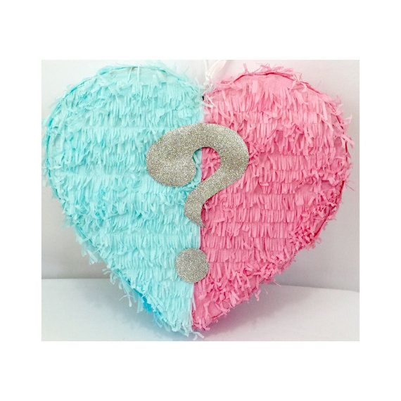 Gender Reveal Piñata Heart Shape by Theperfectpinata on Etsy