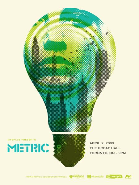 Halftone has been applied to the image - model, cityscape, lightbulb and whirl. Green, teal and black. Simple and basic application of text information. The logo doesn't take way from the poster, it remains quite subtle but in the same breath important.