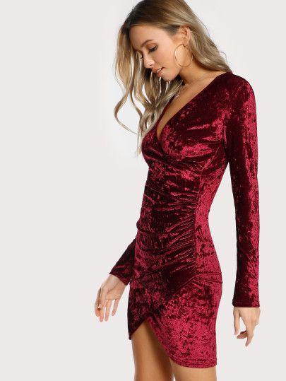 f882de45c765 Ruched Overlap Surplice Crushed Velvet Dress -SheIn(Sheinside ...