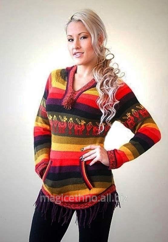 Женский свитер с капюшоном из шерсти Альпаки 1 (Южная Америка)