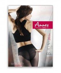 Annes - Slät strumpbyxa med läcker byxdel Bikini, 20 denier