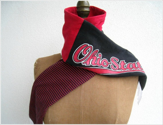 NEW...Ohio State T Shirt Tee Scarf / Unisex / White Red Black / by ohzie