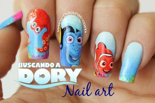 Decoración de uñas buscando a Dory