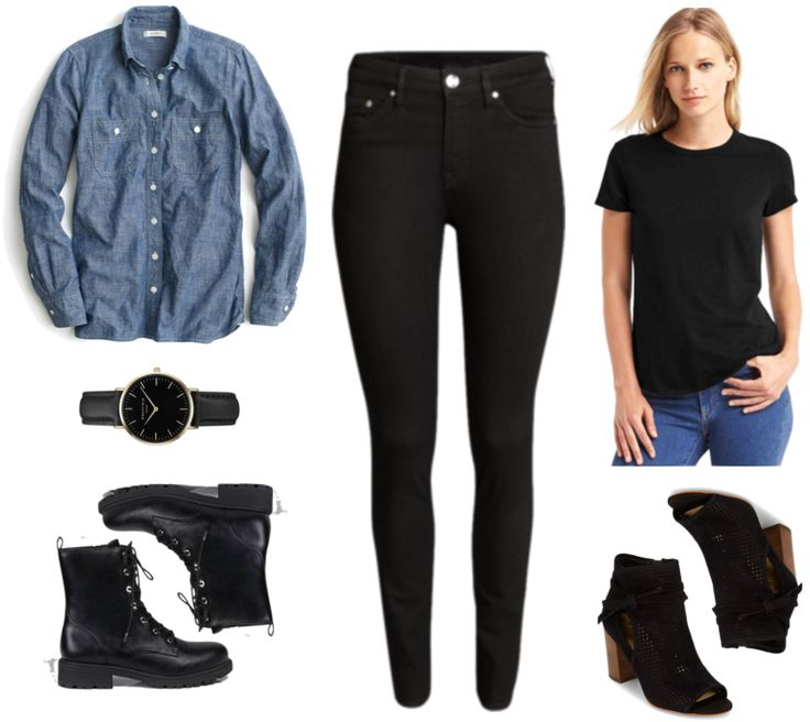"""Fashion Inspired by Music Videos: """"There's Nothing Holdin' Me Back,"""" by Shawn Mendes--Outfit #1 featuring long-sleeved medium-wash selvedge chambray shirt, black watch with gold hardware, black combat boots, black skinny jeans, black short-sleeved crew-neck t-shirt, black suede """"mesh"""" peep-toe ankle boots with chunky wooden heel"""