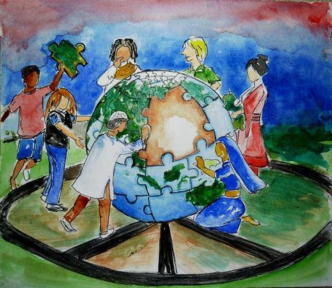 Painting by Masyudi Firmansyah Children living in the landfill city of Makassar, South Sulawesi, Indonesia, scavenge garbage to find textbooks and learn to live together.