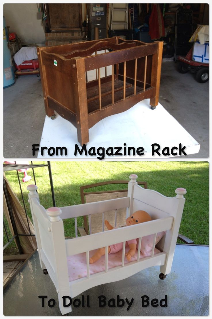 Magazine Rack to Doll Baby Bed
