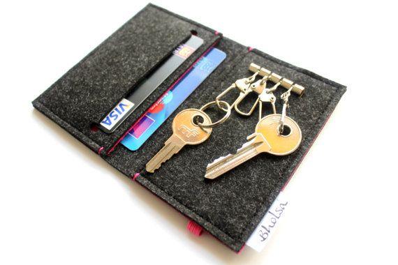 Bholsa Card Organizer + Keyring Wallet / Keyholder – HOT Pink- Pink Elastic Band by Vera