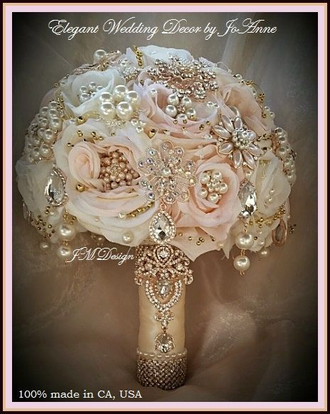 ROSE GOLD  Brooch Bouquet Pink and Gold by Elegantweddingdecor