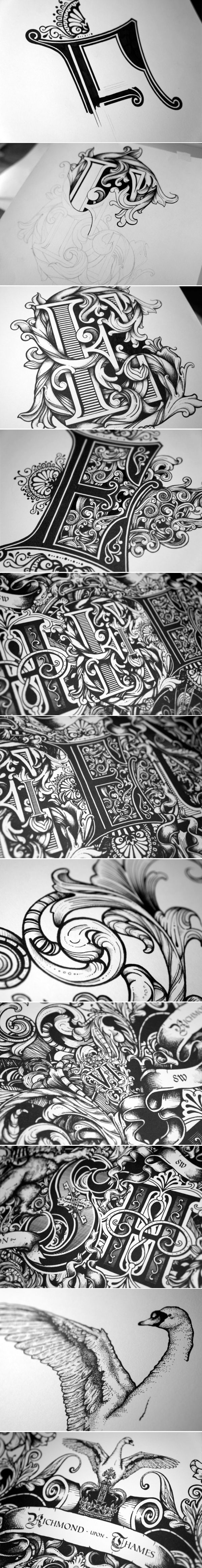 dazzling hand drawn combination of illustration and typography by greg coulton the piece is