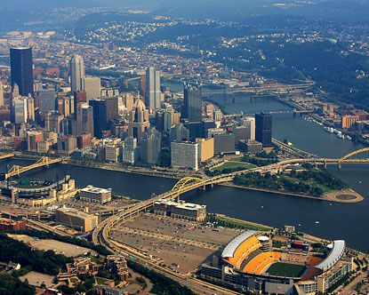 Aerial View of Pittsburgh w/Stadiums  The City of Champions!