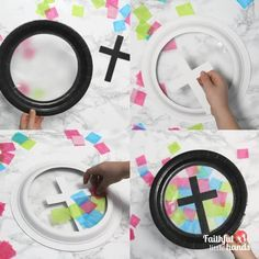 Tissue Paper Cross Suncatchers Process Steps