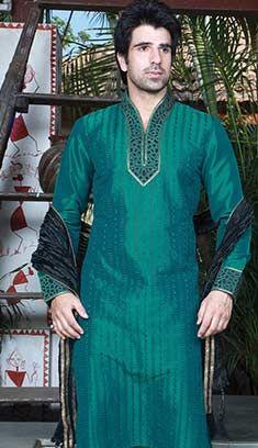 Latest Indian Green Jacquard Mens Wear Sherwani