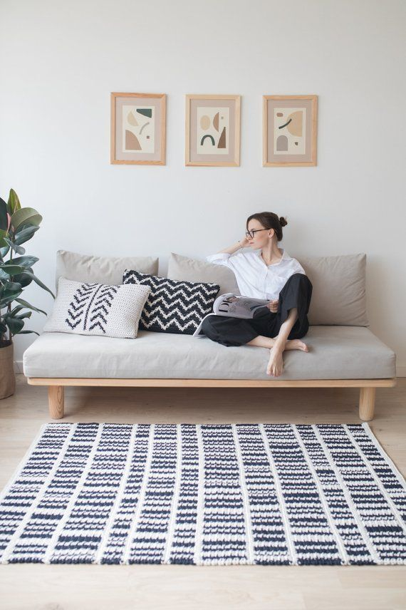Black And White Crochet Rug Pattern Scandinavian Rug Design Etsy Wooden Sofa Designs Sofa Design Home Decor Furniture