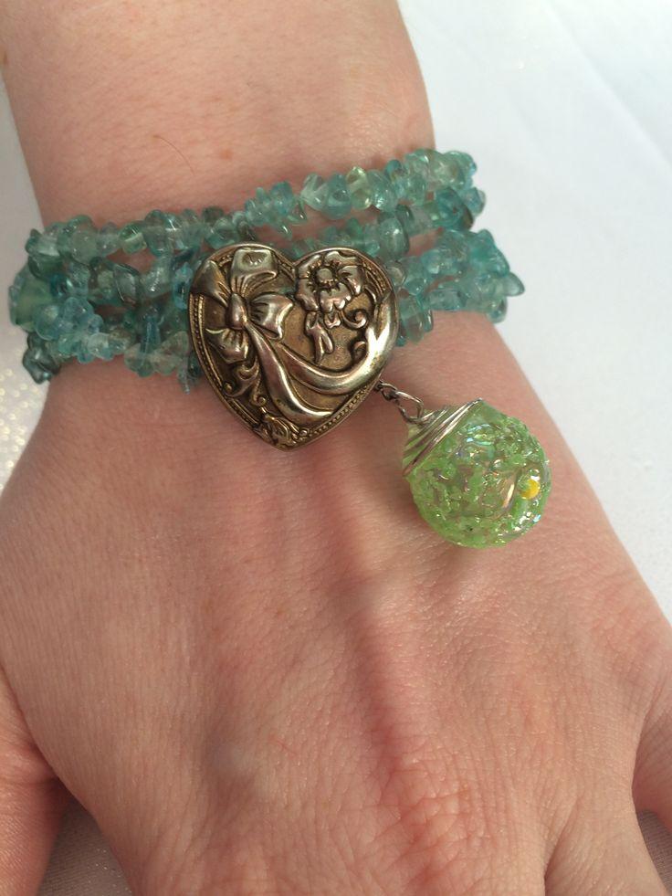 Green+kyanite+in+a+double+strand+wrap+bracelet.