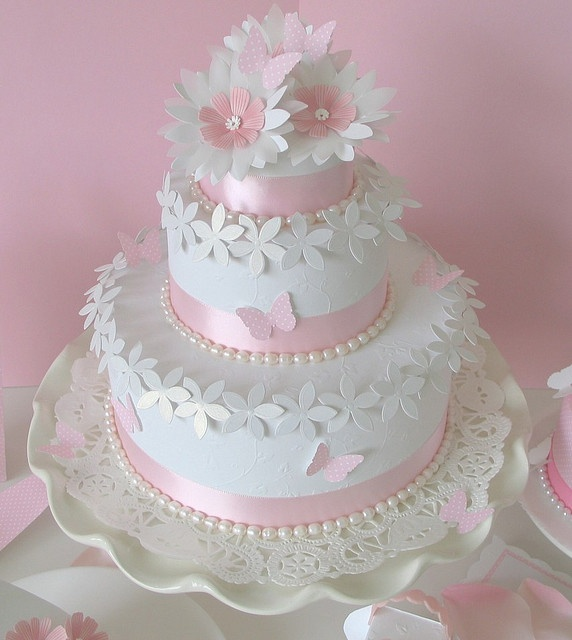 Large Pink and White Wedding Cake closeup by Paper Girl, via Flickr