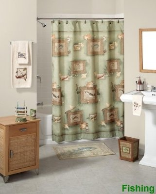 Fishing shower curtain and bath decor know lots of guys for Fishing shower curtain
