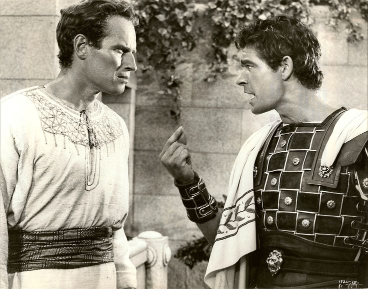 Charlton Heston and Stephen Boyd from Ben Hur,...1959 movie. Stephen Boyd died age 45 from a massive heart attack.